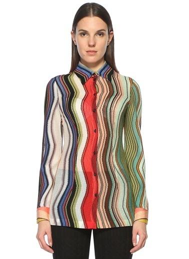 İngiliz Yaka Kıvrımlı Uzun Kollu Gömlek-M Missoni